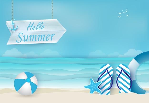 Fundo de férias de verão azul Vetor Premium
