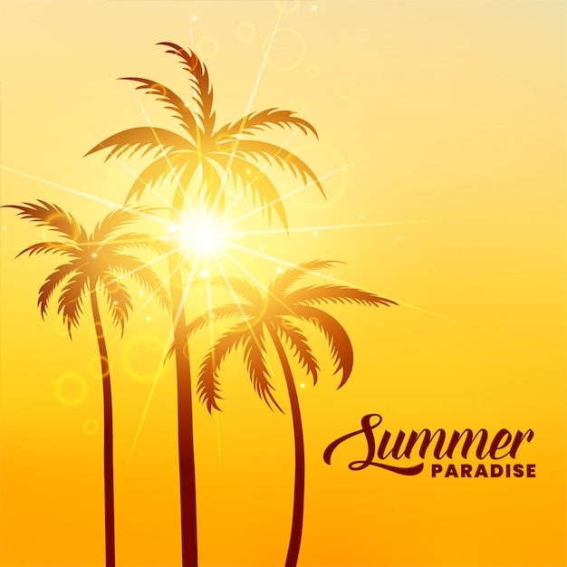 Fundo de férias de verão paraíso com sol Vetor grátis