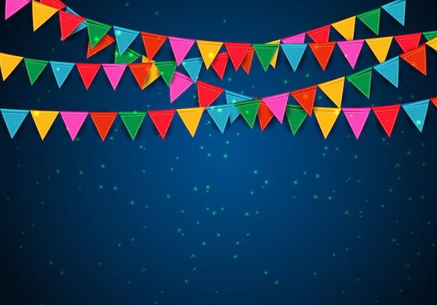 Fundo de festa com bandeiras Vetor Premium