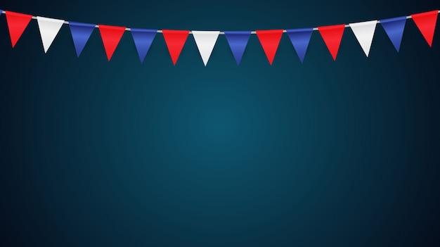 Fundo de festa com ilustração vetorial de bandeiras Vetor Premium