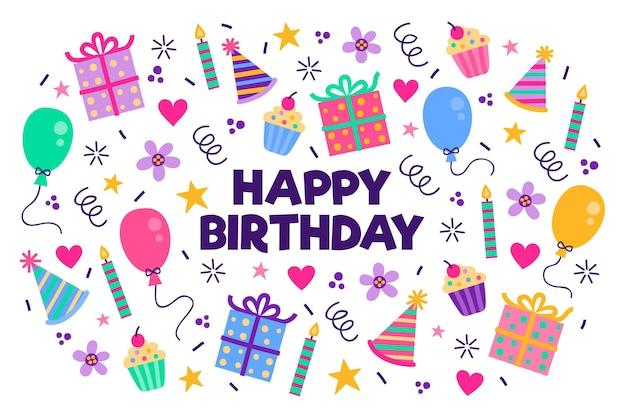 Fundo de festa de aniversário de mão desenhada com presentes Vetor Premium