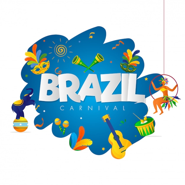 Fundo de festa de carnaval do brasil. Vetor Premium