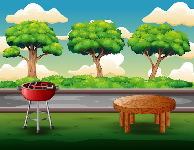 Fundo de festa de churrasco ao ar livre com grelha e mesa Vetor Premium