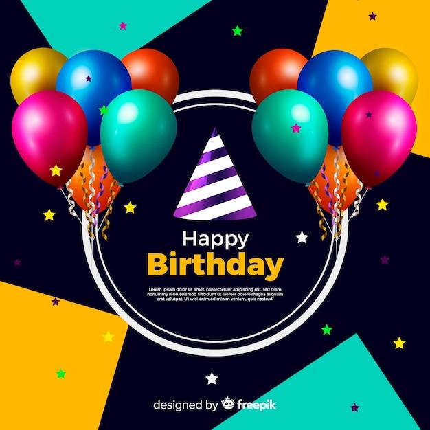 Fundo de festa de feliz aniversário realista Vetor grátis