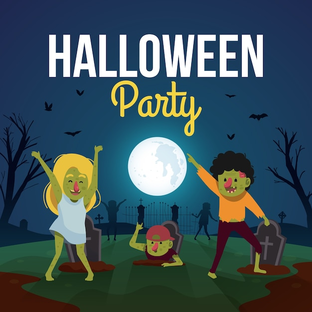 Fundo de festa de halloween com zumbis fofos dançando Vetor Premium