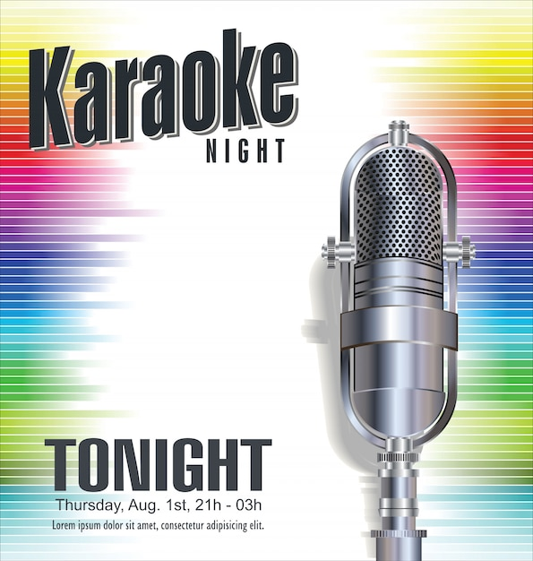 Fundo de festa de karaoke Vetor Premium