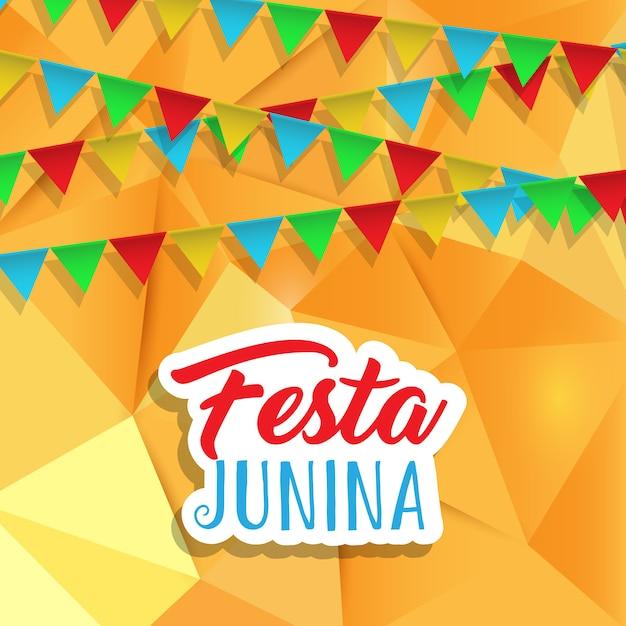 Fundo de festa junina com banners no design baixo poli Vetor grátis