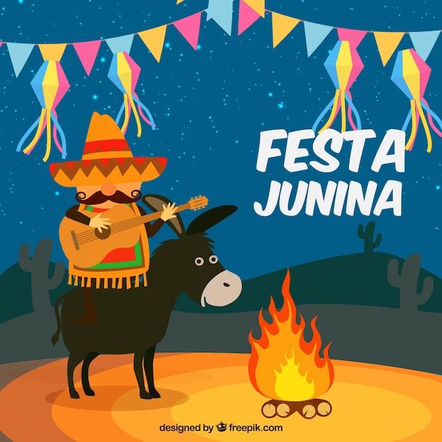 Fundo de festa junina com burro e homem tocando uma guitarra Vetor grátis
