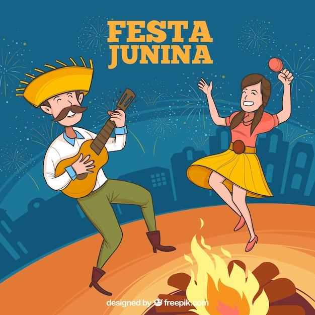 Fundo de festa junina com pessoas jogando e dançando Vetor grátis