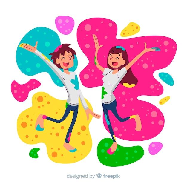 Fundo de festival de holi casal dos desenhos animados Vetor grátis
