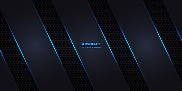 Fundo de fibra de carbono hexagonal escuro com linhas luminosas azuis e destaques. Vetor Premium