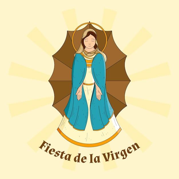 Fundo de fiesta de la virgen desenhado à mão Vetor grátis
