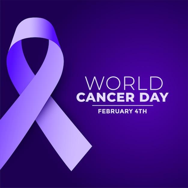 Fundo de fita realista roxo dia mundial do câncer Vetor grátis