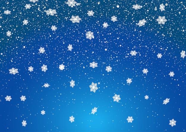 Fundo de flocos de neve de natal Vetor grátis