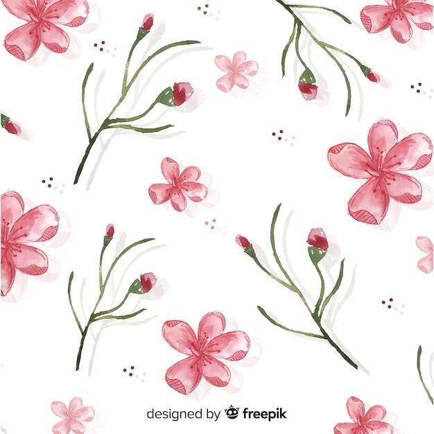 Fundo de flor de cerejeira em aquarela Vetor grátis