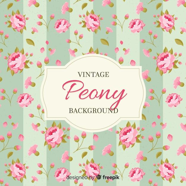 Fundo de flor de peônia vintage Vetor grátis