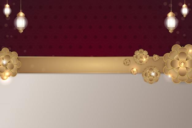 Fundo de flor dourada islâmica marrom vermelho Vetor Premium