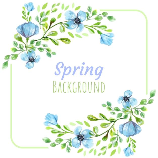 Fundo de flores azuis de primavera Vetor Premium