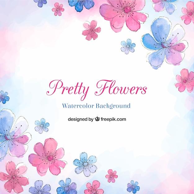 Fundo De Flores Bonitas Em Estilo Aquarela