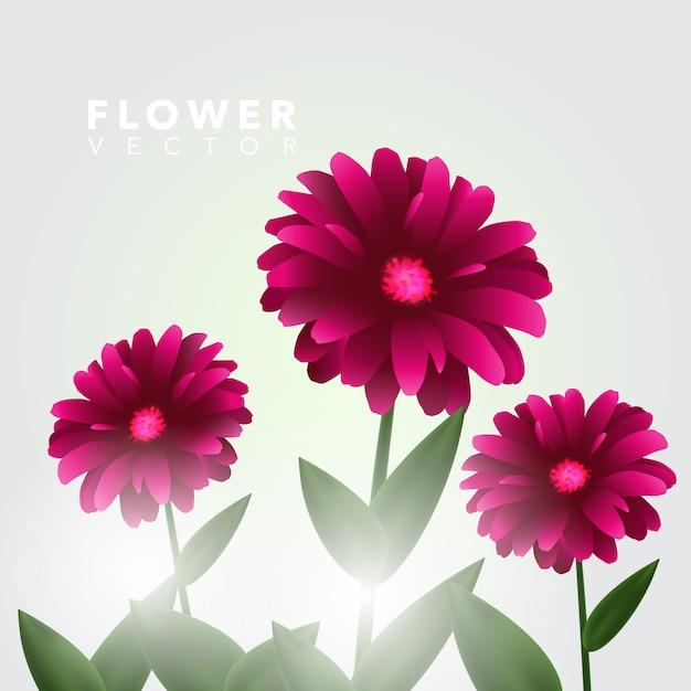 Fundo de flores cor-de-rosa Vetor Premium