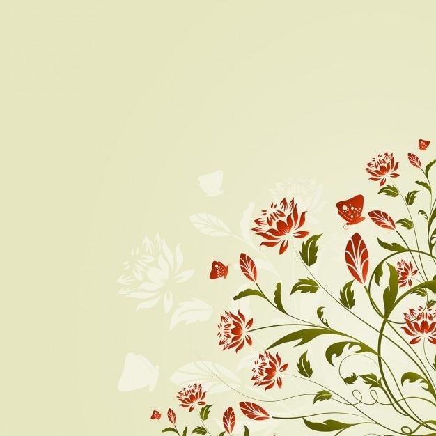 fundo de flores e borboletas vetor grtis