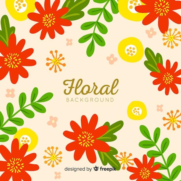 Fundo de flores e folhas planas Vetor grátis