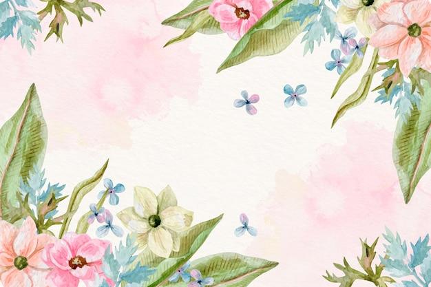 Fundo de flores em aquarela em tons pastel Vetor grátis