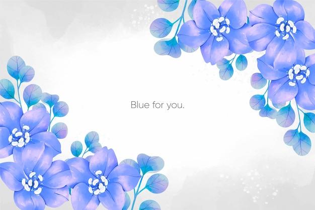 Fundo de flores em aquarela primavera azul Vetor grátis