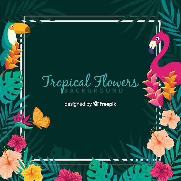 Fundo de flores tropicais Vetor grátis
