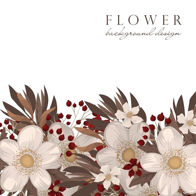 Fundo de flores vermelhas e brancas Vetor grátis