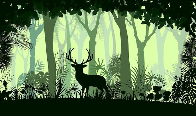 Fundo de floresta com veados selvagens de árvores Vetor Premium