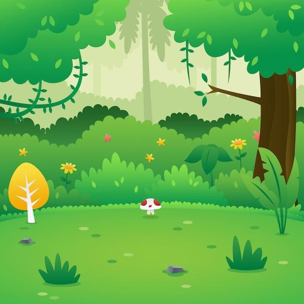 Fundo De Floresta Dos Desenhos Animados Vetor Premium