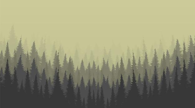 Fundo de foggy pine forest, conceito de lonely scene Vetor Premium