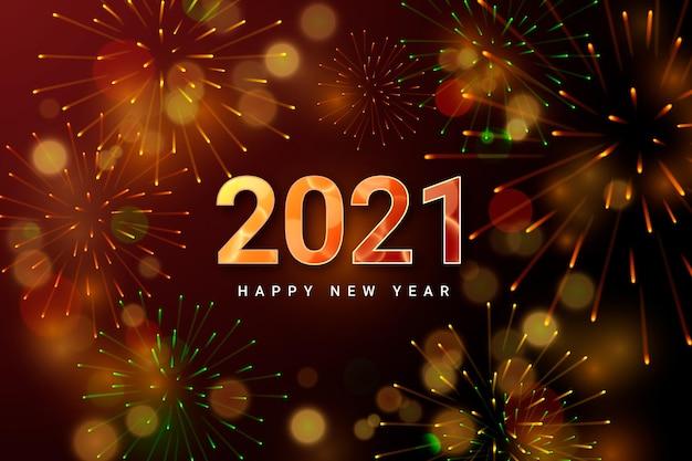Fundo de fogos de artifício ano novo de 2021 Vetor grátis
