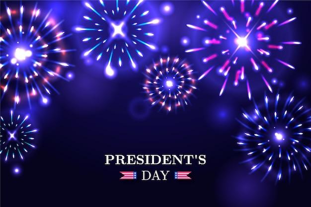 Fundo de fogos de artifício do dia do presidente com letras Vetor grátis