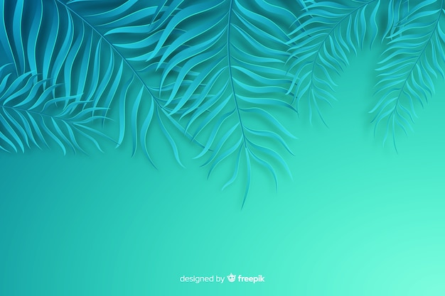 Fundo de folhas azuis em estilo de papel Vetor grátis