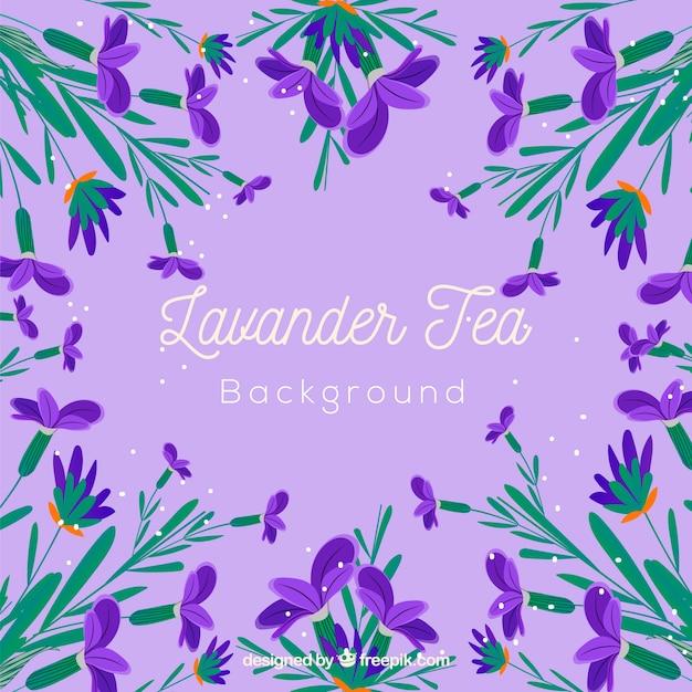 Fundo de folhas de chá com aroma de lavanda Vetor Premium