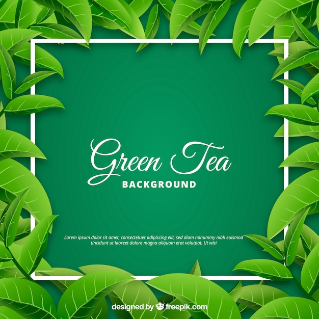 Fundo de folhas de chá com estilo realista Vetor grátis
