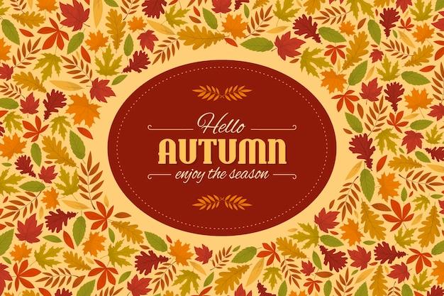 Fundo de folhas de outono design plano Vetor grátis