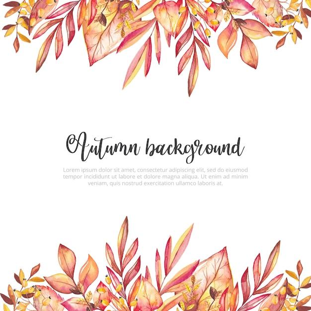Fundo de folhas de outono em aquarela Vetor Premium