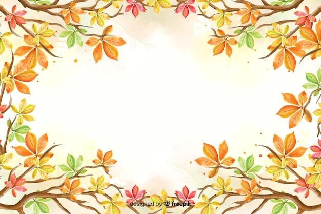 Fundo de folhas de outono em aquarela Vetor grátis