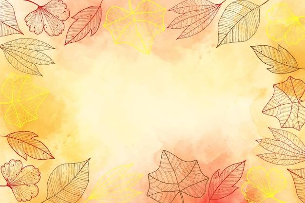 Fundo de folhas de outono Vetor grátis