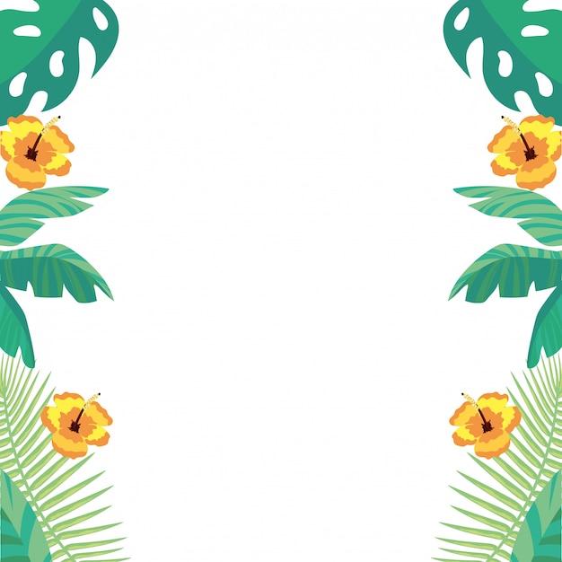 Fundo de folhas e flores tropicais Vetor Premium