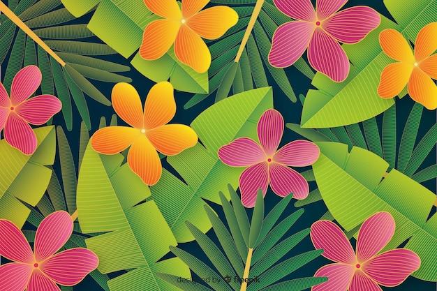 Fundo de folhas e flores tropical realista Vetor grátis