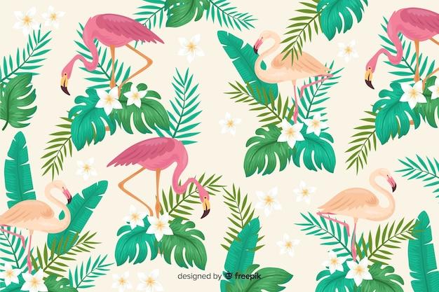 Fundo de folhas e pássaros tropical realista Vetor grátis