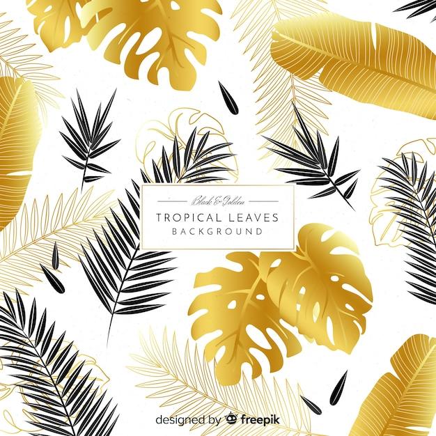 Fundo de folhas tropicais de preto e dourado Vetor grátis