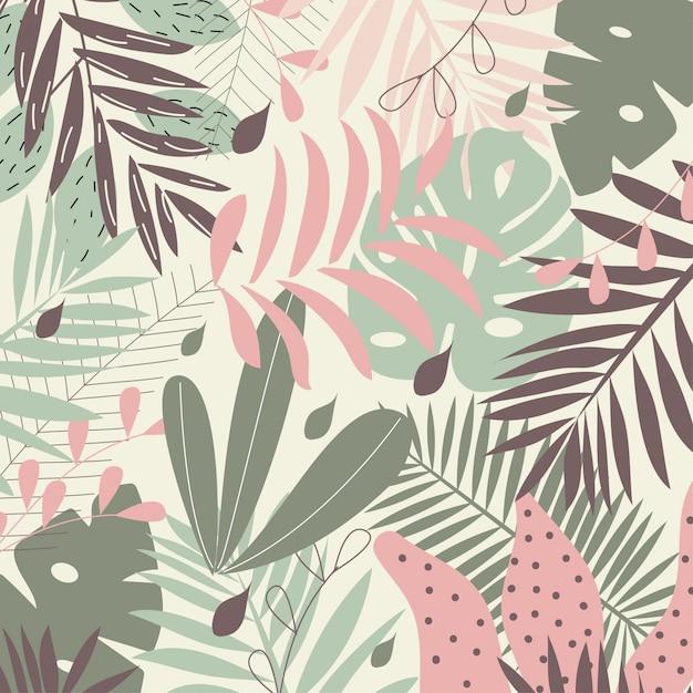 Fundo de folhas tropicais em tons pastel Vetor Premium