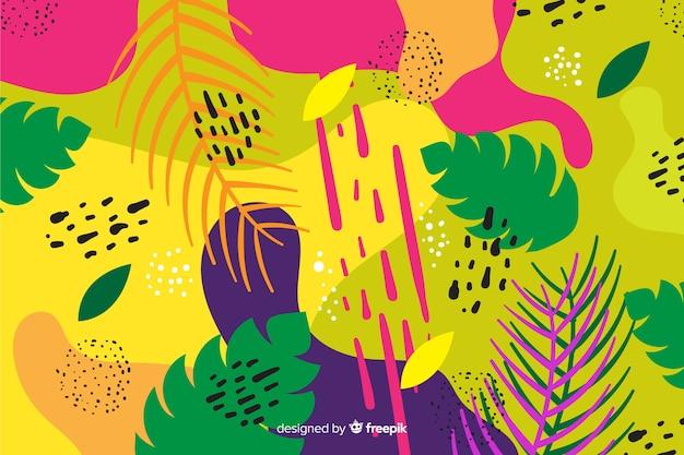 Fundo de folhas tropicais mão desenhada Vetor grátis