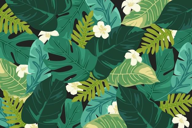 Fundo de folhas tropicais para zoom Vetor Premium