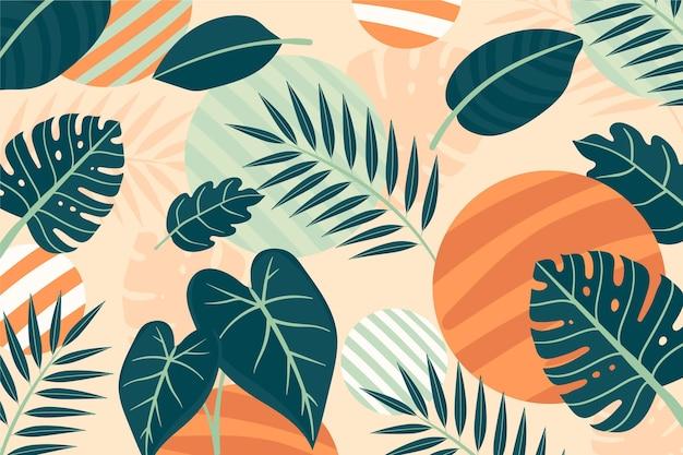Fundo de folhas tropicais para zoom Vetor grátis